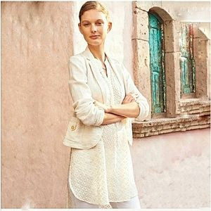 Anthropologie Ivory Cartonnier Linen Blazer 8